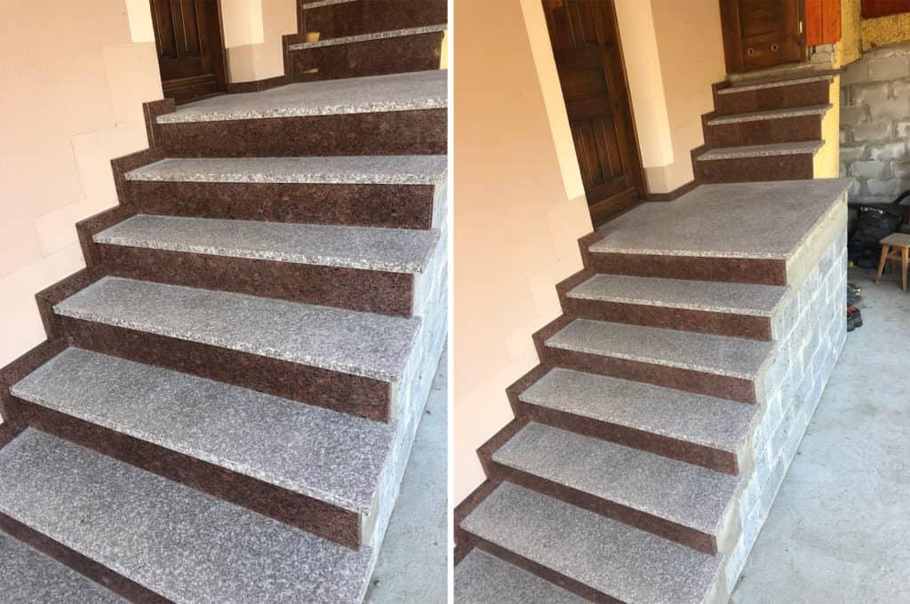 schody z czerwonego granitu